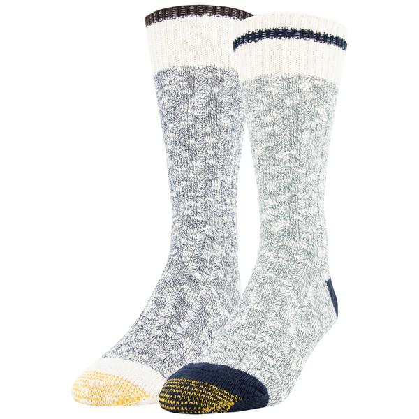 Men's Chunky Slub Lodge Sustainable Crew Socks, 2 Pairs (Marble Green/Navy Marl)