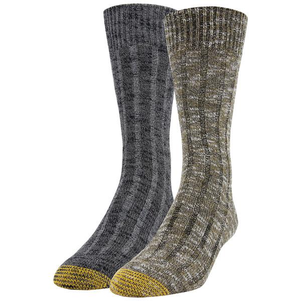 Men's Slub Mix Lodge Sustainable Crew Socks, 2 Pairs (Marble Green/Black Marl)