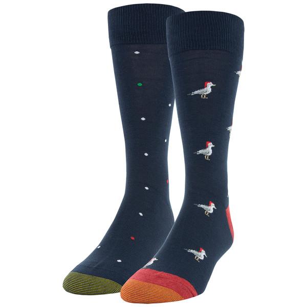 Men's Santa Seagull/Dot Dress Crew Socks, 2 Pairs (Santa Seagull/Dot)