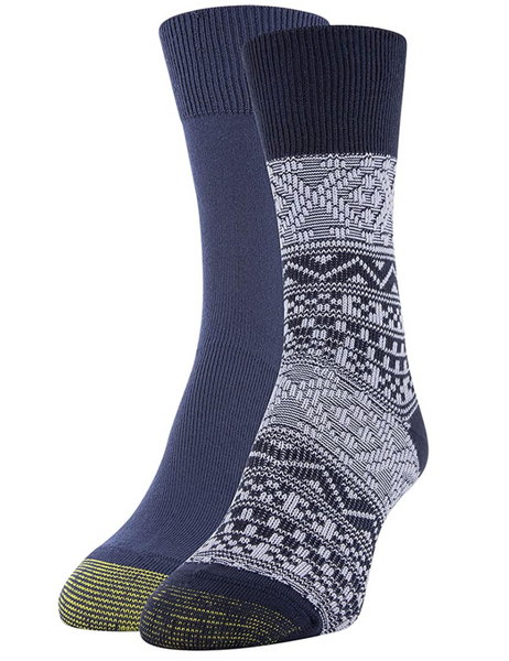 Gold Toe Women's Fairisle Crew Socks, 2 Pairs (Peacoat Fairisle, Peacoat)