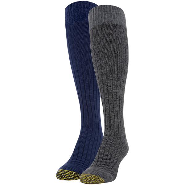 Women's Shaggy Chic Knee High Socks, 2 Pairs (Charcoal, Peacoat)