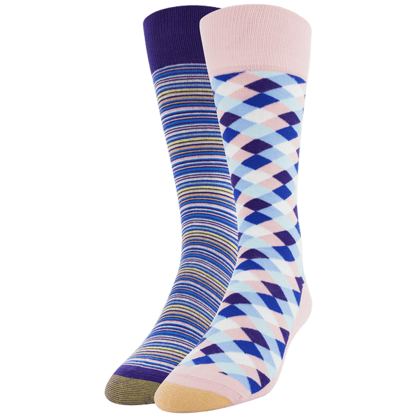 Men's Mini Diamonds & Frankie  Stripe Crew Sock