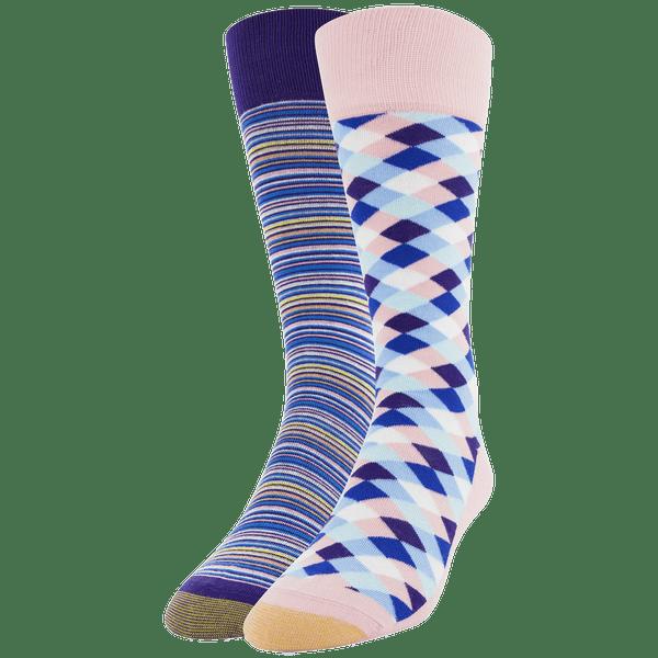 Men's Mini Diamonds & Frankie  Stripe Crew Sock