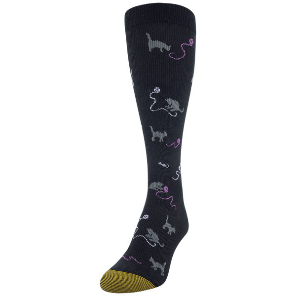Women's Cotton/Rayon Cat Play Compression Knee High
