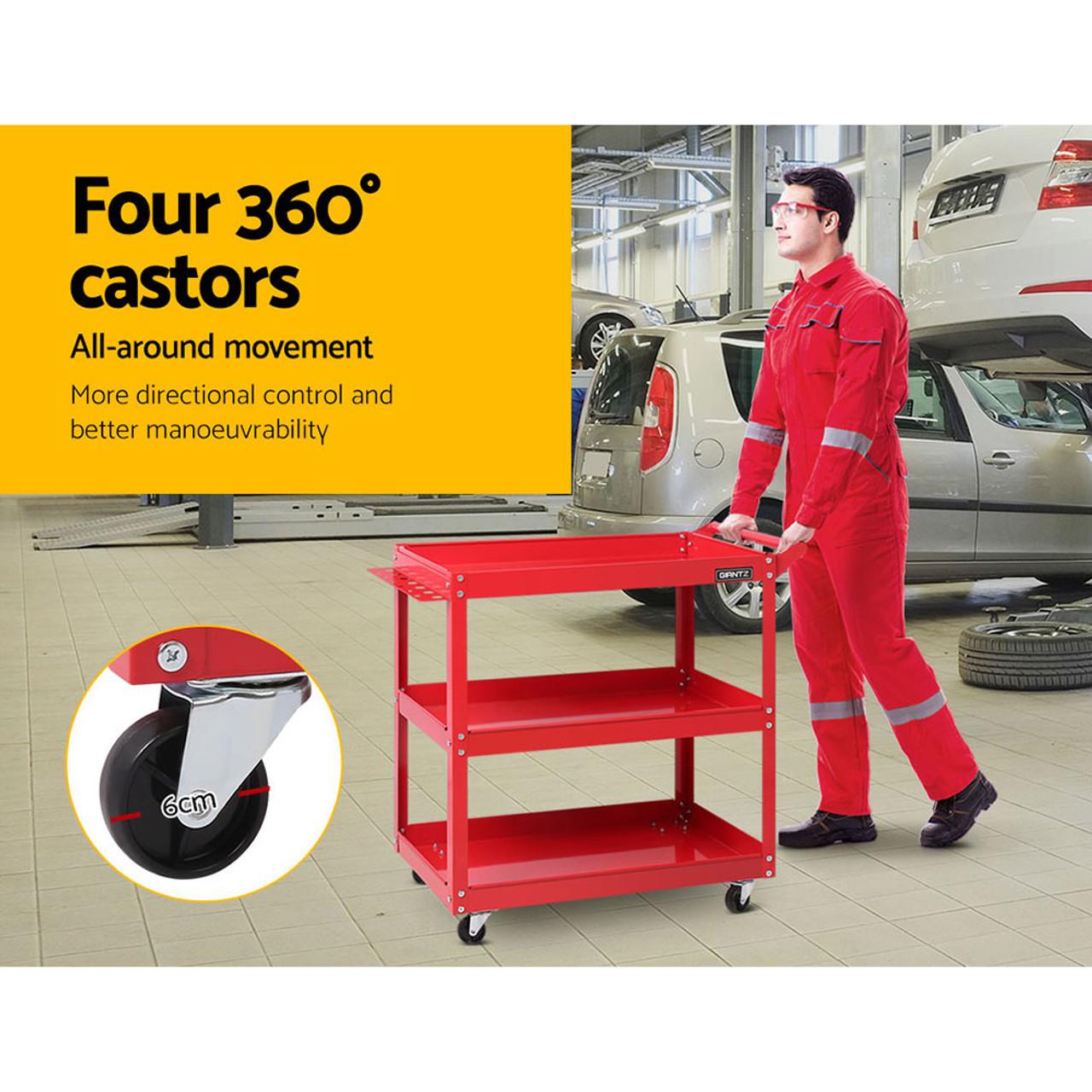 Tool Cart 3 Tier Parts Steel Trolley Mechanic Storage Organizer - Red