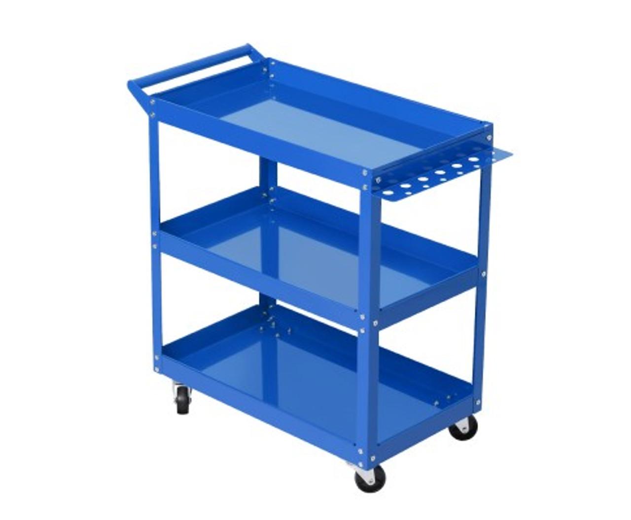 Tool Cart 3 Tier Parts Steel Trolley Mechanic Storage Organizer - Blue