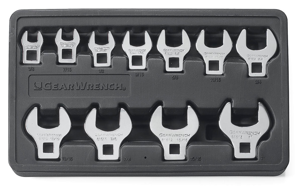 """Gearwrench 11 Pc 3/8"""" Drive Crowfoot SAE Wrench Set 81908"""