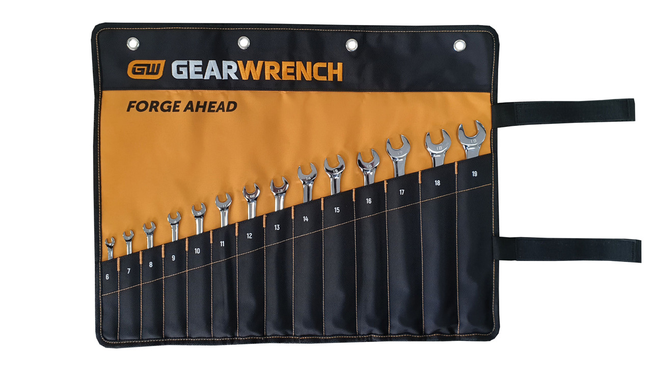 Gearwrench 14 Piece 12 Point Long Pattern Metric Combination Wrench Set in roll (81936)