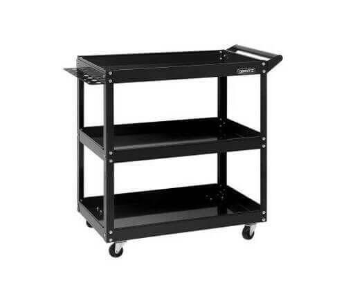 Tool Cart 3 Tier Parts Steel Trolley Mechanic Storage Organizer - Black