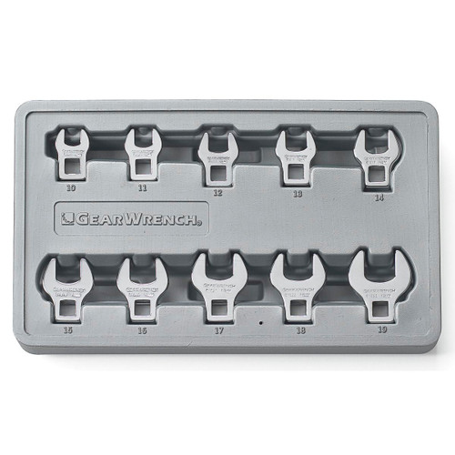 """Gearwrench 10 Pc 3/8"""" Drive Crowfoot Metric Wrench Set 81909"""