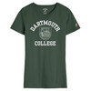 Women's green short sleeve tee with 'Dartmouth College' and Dartmouth Shield across the chest in white