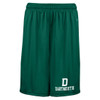 Green athletic shorts with 'D Dartmouth' on the pant leg in white