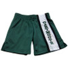 Children's green and white shorts with 'Dartmouth' down the leg in green