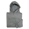 Grey hooded sweatshirt with 'Dartmouth College' across the chest in green