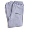 Grey sweatpants with 'Dartmouth' across the leg in green