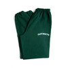 Green sweatpants with 'Dartmouth' on the leg in white