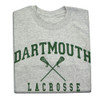 Grey short sleeve tee with 'Dartmouth Lacrosse' across the chest in green