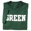 Green short sleeve tee with 'Green' across the chest in white