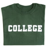 Green short sleeve tee with 'College' across the chest in white