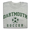 Grey short sleeve tee with 'Dartmouth Soccer' across the chest in green