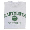 Grey short sleeve tee with 'Dartmouth Softball' across the chest in green