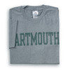 Grey short sleeve tee with 'Dartmouth' across the chest in green