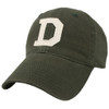 Green hat with white felt 'D' in the center