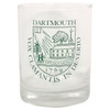 Old fashioned glass with Dartmouth Shield in green