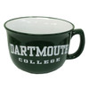 Green soup bowl-mug with 'Dartmouth College' in the center in white