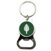 Dome bottle opener key chain with Dartmouth Lone Pine in green