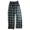 Youth green and white plaid flannel bottoms with 'Dartmouth' down the left leg in white