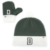 Toddler matching mittens and hat with 'D' in green and white