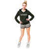 Women's green hooded sweatshirt with DARTMOUTH across chest in white on model