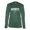 Women's green long sleeve tee with 'Dartmouth' across the chest and Dartmouth shield in white
