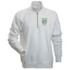 Men's white 1/4 zip sweatshirt with Dartmouth shield on left side of chest in green