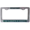 Pewter license plate holder with 'Dartmouth' in green on top and 'Vox Clamantis In Deserto' on bottom in green