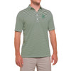 Men's green and white striped polo with the Dartmouth shield on the left