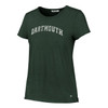 Women's green short sleeve tee with arched 'Dartmouth' in white across chest