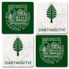 4 piece coaster set, 2 green coasters with Dartmouth shield and 2 marble coasters with 'Dartmouth' and lone pine in green.