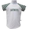 Girls/Toddlers short sleeve shirt with green and white checkerboard sleeves, white body and 'Dartmouth' written in green across the chest.