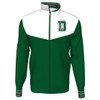 Men's green and white full zip jacket with green and white 'D' on the left side of chest