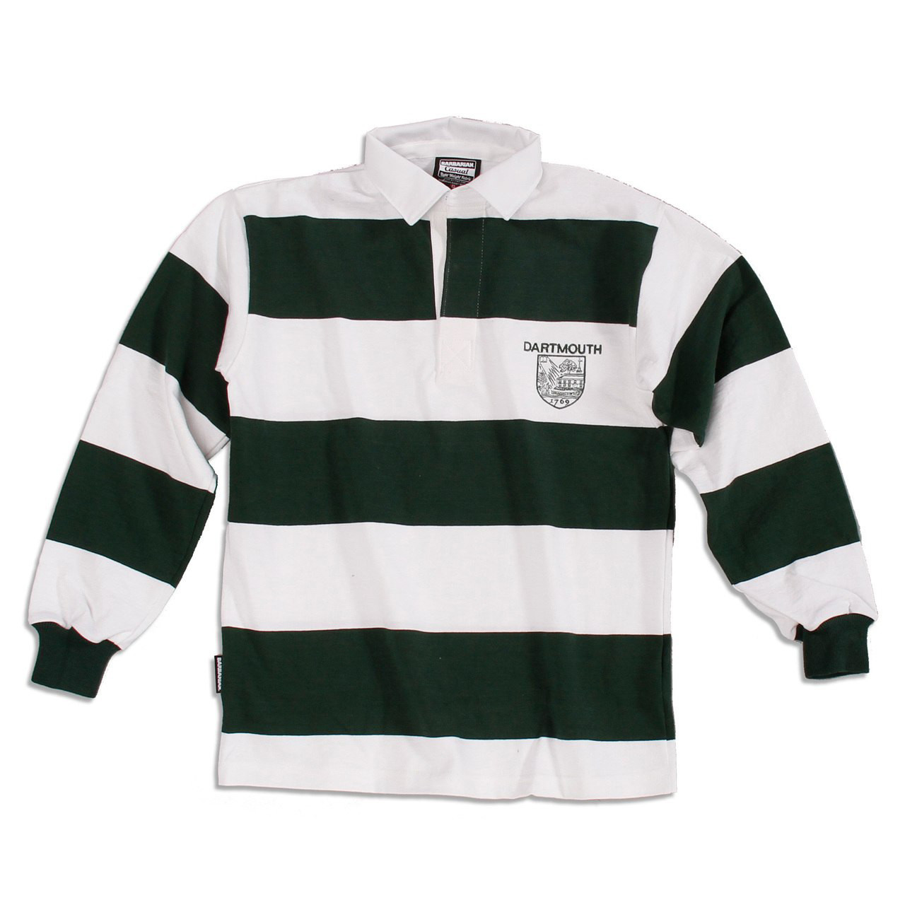 2608c8957 Green and white striped long sleeve rugby jersey with 'Dartmouth' and  Dartmouth shield on