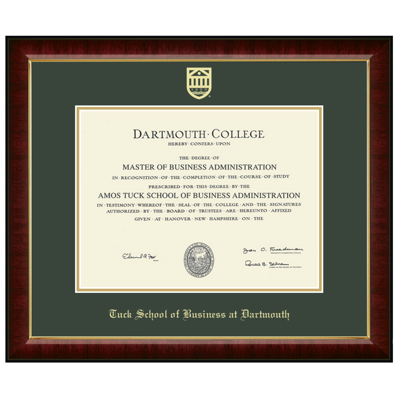 Murano Diploma Frame Tuck School Of Business At Dartmouth