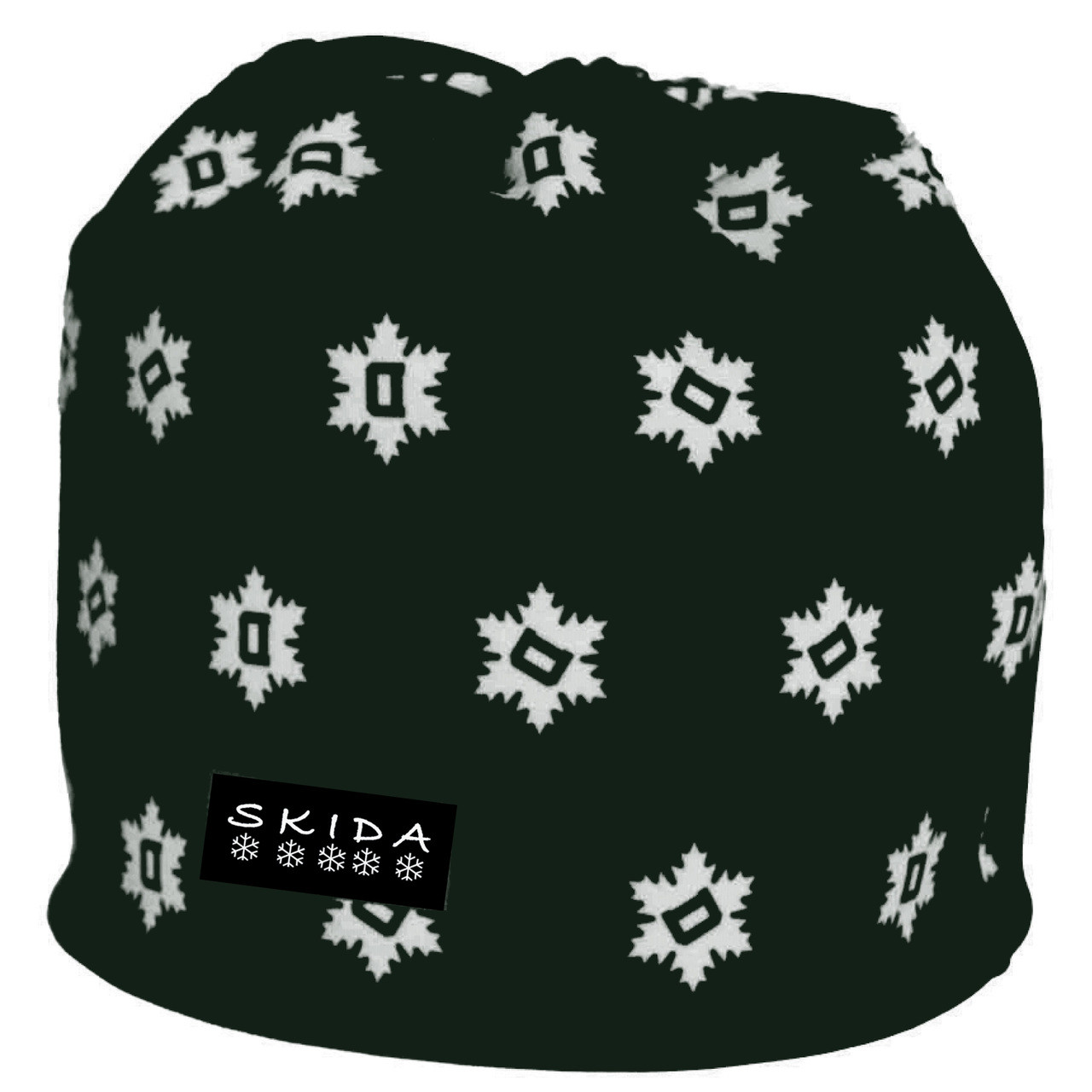 7a3f5467f42 Green winter hat with white  D  snowflakes
