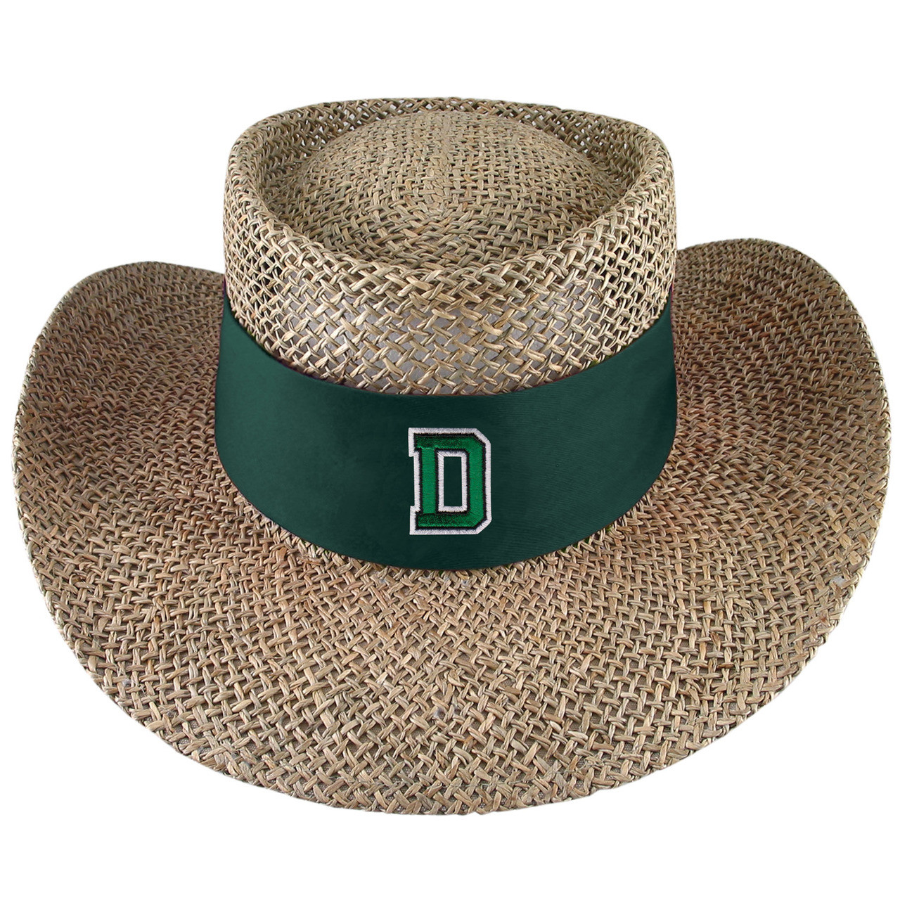 611a397b7c6 Straw sun hat with green band around the base with green  D  outlined in