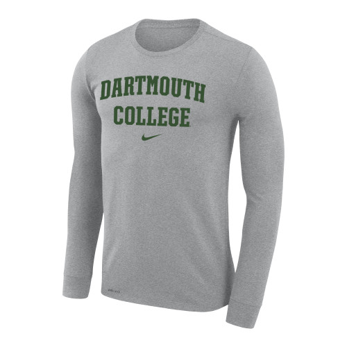 Men's Nike grey long sleeve tee with 'Dartmouth College' and Nike swoosh across the chest in green