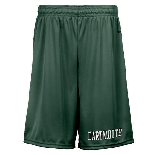 Green athletic shorts with 'Dartmouth' on the pant leg in white