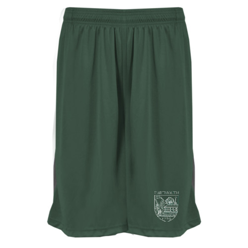 Green athletic shorts with Dartmouth shield on pant leg in white
