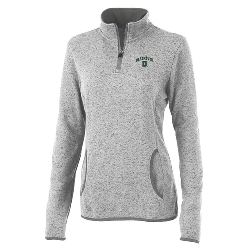 Women's grey 1/4 zip pullover with 'Dartmouth' and lone pine on the left in green