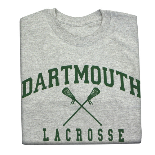 Youth grey short sleeve tee with 'Dartmouth Lacrosse' across the chest in green